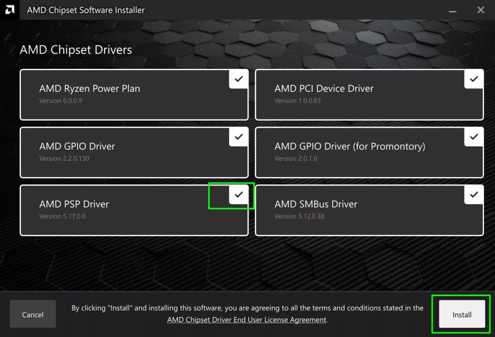 AMD frissítés - install