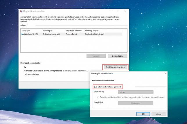 SSD esetén ki kell kapcsolni a töredezettségmentesítést